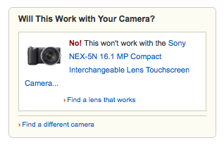 Amazon's camera lens compatibility widget